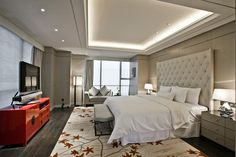 Guest room at Westin Ningbo, designed by HBA/Hirsch Bedner Associates