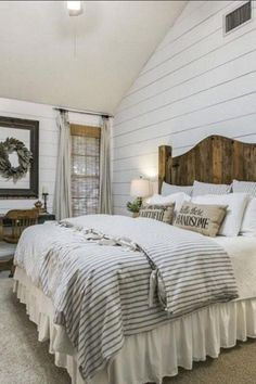 Rustic bedroom furniture - 50 Favorite Bedding For Farmhouse Bedroom Design Ideas And Decor bedroominspiration decor Modern Farmhouse Bedroom, Farmhouse Master Bedroom, Master Bedroom Design, Cozy Bedroom, Home Decor Bedroom, Bedroom Furniture, Bedroom Ideas, Farmhouse Decor, Farmhouse Style