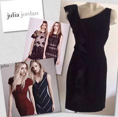 JULIA JORDAN BLACK RUFFLE STRAIGHT SHEATH DRESS SZ 6 - RETAILS $138