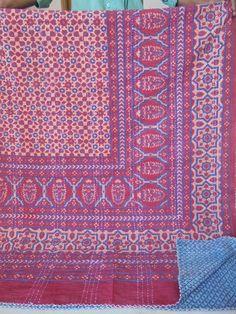 Ajrakh kantha quilt handmade vegetable dye by jaisalmerhandloom