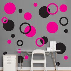 Black & Hot Pink Polka Dots - Polka Dots - Home Decor Graphics