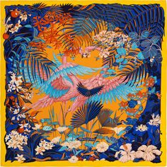 Flamingo Party - Yellow, Peach, Blue and Cyan