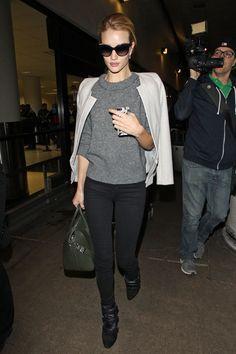 Supermodel Rosie Huntington Whiteley off-duty Street Style | Harper's Bazaar