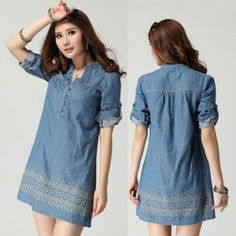 Com wp-content uploads 2016 08 vestidos-cortos-de-mezclilla Denim Shirt Dress, Denim Outfit, Denim Skirt, Stylish Dress Designs, Denim Fashion, Fashion Outfits, Modest Dresses Casual, Pretty Outfits, Casual Looks