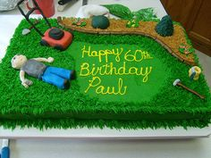 lawn cake (60th b-day)    8/08 by cakesncookies, via Flickr