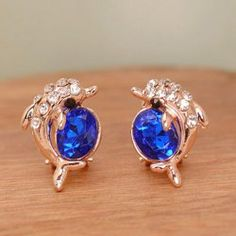 Pair of Chic Rhinestone Dolphin Earrings For Women .