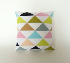 16X16 inches - Geometric triangle pillow cover - bright multi-colored pillow cover - cushion cover - geometric pillow