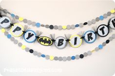Batman Banner {with garland}-happy birthday banner batman superhero garland