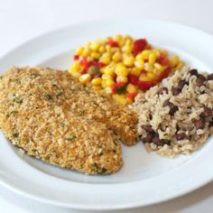 Tortilla-Crusted Tilapia with Rice & Beans and Mexican Corn | DineWise