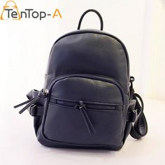 979af4b977a5 Women s Backpacks · TenTop-A New Fashion Waterproof PU Leather Zipper  Shoulder Bags Students Preppy Style Leisure Solid