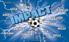 Impact B51765  digitally printed vinyl soccer sports team banner. Made in the USA and shipped fast by BannersUSA.  You can easily create a similar banner using our Live Designer where you can manipulate ALL of the elements of ANY template.  You can change colors, add/change/remove text and graphics and resize the elements of your design, making it completely your own creation.