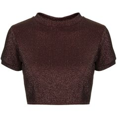 TOPSHOP Lurex Crop Top ($15) ❤ liked on Polyvore featuring tops, crop tops, shirts, t-shirts, topshop, mulberry, red crop top, funnel neck top, red shirt and short sleeve tops