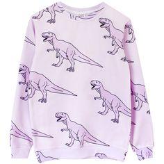 Dinosass Sweatshirt ($85) ❤ liked on Polyvore featuring tops, hoodies, sweatshirts, dinosaur, sweaters, print sweatshirt, purple top, long sleeve tops, print tops and long sleeve knit tops