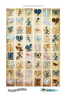 Digitale Collage Blatt IN meinem Herzen 1 x 1 Quadrat von byJLeeloo