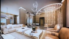 """The record-setting $55 million, 15,000 square-foot penthouse, """"Palazzo di Oro,"""" will include an exclusive collection by FENDI CASA, along with palatial exclusive features, such as a private salon area complete with pedicure and barber stations, as well as an indoor pool."""