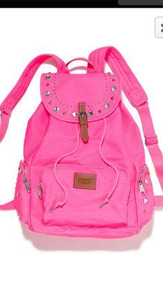 Victoria's Secret PINK Bling Studded Canvas School Handbag Backpack Book Bag Tote-Sold Out Studded Backpack, Studded Bag, Rucksack Bag, Backpack Bags, Duffle Bags, Drawstring Backpack, Handbags For School, School Bags, Pink Crossbody Bag