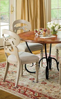 Milano Copper Top Dining Table and Gabrielle Chair.