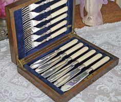Antique Cutlery Flatware Boxed Silver French Ivory Celluloid Fish Set (12 pcs)