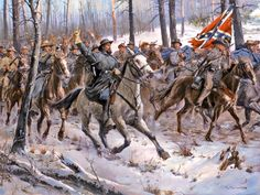 General Nathan Bedford Forrest leads his cavalrymen out from Fort Donelson.