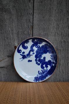 vintage Japanese plate. print on edge