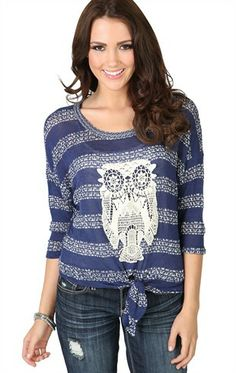 Three Quarter Sleeve Striped Top with Tie Front and Owl Patch