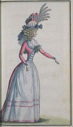 Journal de la Mode et du Gout, March 1790. Gorgeous!  The spotty fabric is really lovely, and the banding on her bodice's zone front i...