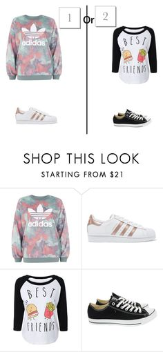 """""""1or 2"""" by hanin-elsamad ❤ liked on Polyvore featuring adidas, adidas Originals and Converse"""