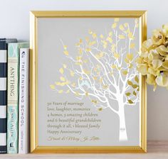 Together they have found a friendship raised a family and built a golden anniversary family tree canvas print personalized 50th anniversary gift for parents customized keepsake gift love story faux gold stopboris Image collections