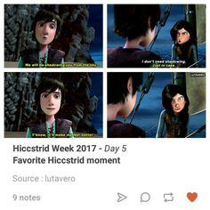 Hiccstrid week, day :5.... Favorite hiccstrid moment  #hiccstrid week 2017