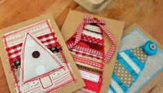 One Textile Christmas Card Handmade xmas card with by StudioZiArt