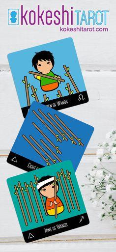 Kokeshi Tarot a #cute #tarotdeck for #children / Seven of Wands, Eight of Wands, Nine of Wands