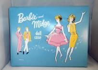 Rare Vintage 1963 Blue Mattel BARBIE & MIDGE Doll Wardrobe Case, Nice! ~ Free S/H & No Slice Fee
