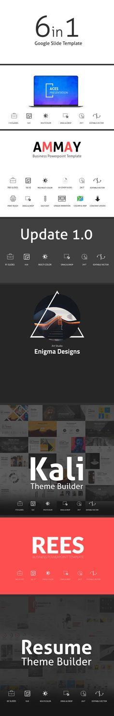 6in1 Google Slide Templates Bundle - Google Slides Presentation Templates