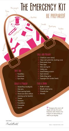 We know everything will go perfectly on the day of your wedding, but it never hurts to be prepared. Here is a great graphic that tells you what to pack in your wedding emergency kit.