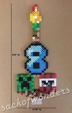 Minecraft Birthday Candle Number Perler beads by sackofwonders