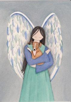 Italian greyhound with angel / Lynch folk art print