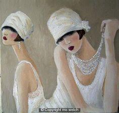 art deco lady artwork | Art Deco Paintings 1920s