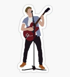 'Guitar Niall' Sticker by Deelara Tumblr Stickers, Diy Stickers, Printable Stickers, One Direction Shirtless, Desenhos One Direction, One Direction Drawings, Harry Styles Drawing, Jumper Designs, Naill Horan