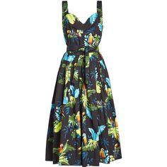 Marc Jacobs Tropical Print Midi Dress ($435) ❤ liked on Polyvore featuring dresses, multicolored, tropical print dress, wrap dress, flare dress, sweetheart dress and mid calf dresses