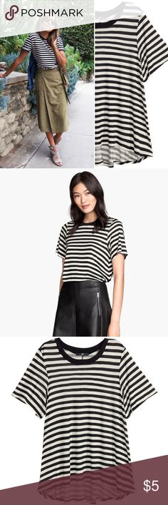 H&M | Striped A-line Tee Black and white short-sleeve striped tee. A-line, swingy fit. Jersey knit, super soft! White stripes are ivory rather than pure-white. Great condition! H&M Tops Tees - Short Sleeve