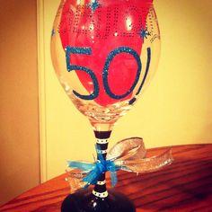 Fabulous 50 bday glass