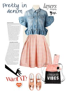"""Denim and Striped Skirt"" by ellie366 ❤ liked on Polyvore featuring Twenty, Rumour London, Casetify, Acne Studios, MSGM, GUESS, stripes, denimjacket, sneakers and layers"