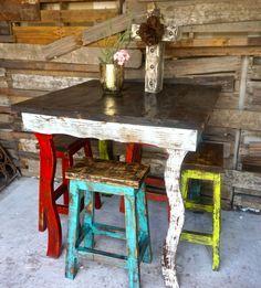 Catalina Bar Table Stool Set| Sofia's Rustic Furniture #refurbishedfurniture