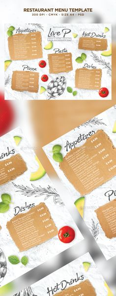 Restaurant Menu Template by Nikolaev_ws File info:Flyer Name: Restaurant Menu TemplateSize: 297脳210 mm (A4 size) 3 mm bleedMode: CMYKFiles included: 1 PSD Editable File