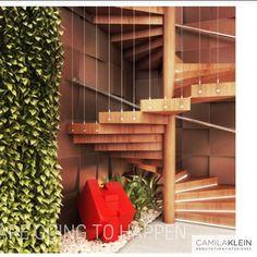 Proposta dinâmica entre acabamentos frios e quentes, tornam este espaço da escada diferenciado...aliado a esta obra de arte, posicionada em lugar estratégico e de destaque. #escada #decoração #interiores #decor #arquitetura #ideia #inspiração #interiordesign