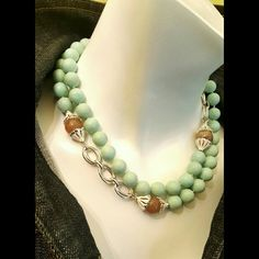 Matte Amazonite Mint &Glass bead& chain necklace Matte Amazonite Mint&Glass bead and chain statement necklace Jewelry Necklaces