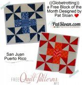 Block Four - San Juan from Pat Sloan in her FREE 2014 Mystery BOM. PDF download available. VisitSite: http://www.freequiltpatterns.info/block-four---san-juan.htm