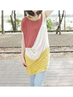 Preppy Round Neck Color Block Cotton Loose T-shirt