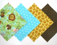 "48 Piece Rag Quilt Top Kit in Baby Jungle Animals, Aqua Dots, Giraffe and Brown Circle Matching Flannel Fabric PreCut 6""x6"" Quilt Squares"