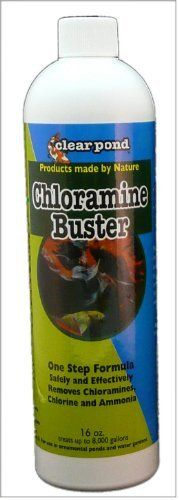 Clear Pond Chloramine Buster, 16-Ounce by Clear Pond. $14.95. One step formula. Treats up to 16,000 gallons. 100-percent environmentally safe. Chloramine Buster is a specially developed triple action compound that safely removes chorine, chloramines and ammonia from pond water. In established ponds Chloramine Buster may also be used to reduce ammonia, where levels are high or toxic, whether or not chloramines or chlorine is in the water.